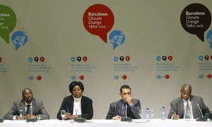 Members of the African Group board at UN climate talks in Barcelona