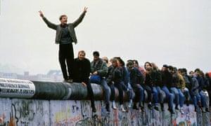 West Germans on Berlin Wall