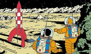 The cover of the Tintin album Explorers On the Moon