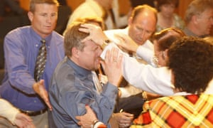 Laying on of Hands at an Evangelical Group Meeting, Paris, France