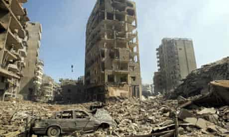 The rubble of buildings hit in Israeli strikes in Beirut