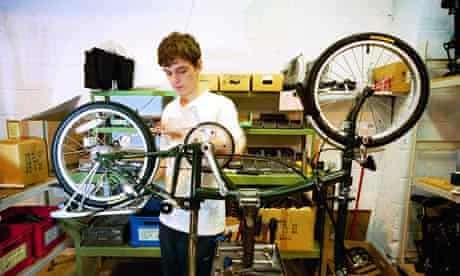 Folding bike under construction at Brompton Bicycles