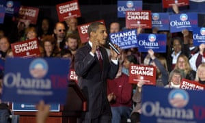 Senator Barack Obama campaigns for Democratic vote in Iowa
