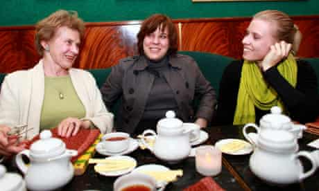 Tereza Sawerska, 76, with her daughter Monika and granddaughter Marta