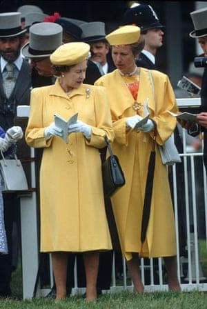 Queen Elizabeth II: 1988: Queen Elizabeth II and Princess Anne at The Epsom Derby