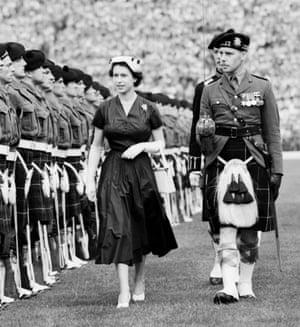 Queen Elizabeth II: 1953: Queen Elizabeth II inspects guard of Highland Light Infantrymen