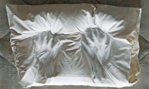 Sleep, pillow with handprints