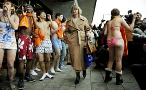 Copenhagen Diary: COP 15 American youth group in their underwear outside The Bella Centre