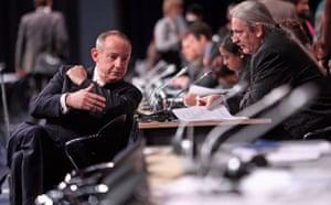 Copenhagen day 5: COP15 Yvo de Boer (L)  with South Africa's negotiator Alf Wills