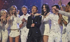 Joe McElderry with fellow X Factor finalists