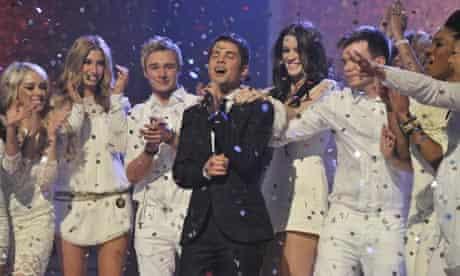 Joe McElderry with fellow X Factor finalists
