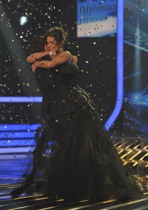 X-Factor final: Joe Mcelderry and Cheryl after he is announced X-Factor winner