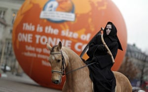 Copenhagen diary: COP15 A climate activist has dressed up as a horseman of the Apocalypse