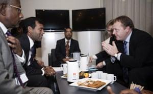 Copenhagen Diary: COP15 : Lars Lokke Rasmussen with Maldvies Mohammed Nasheed