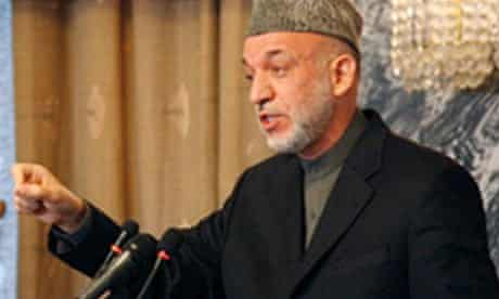 Hamid Karzai at the opening of a three-day anti-corruption conference in Kabul