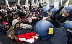 COP15 Reclaim Power: Danish police police beat protesters at Bella center in Copenhagen