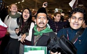 COP15 Reclaim Power: NGO delegates march inside the Bella Center in Copenhagen