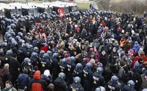 COP15 Reclaim Power:  Police surround protestors outside Bella center  in Copenhagen
