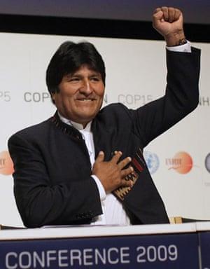 who is in Copenhagen: COP15 Bolivian President Juan Evo Morales