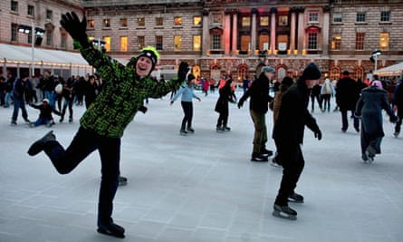 Ice skaters enjoy the freezing conditions at the Somerset House rink in London
