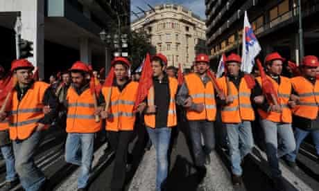 Construction workers march in central Athens 2009