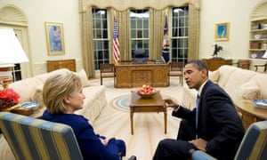 Barack Obama with Hillary Clinton in the Oval Office