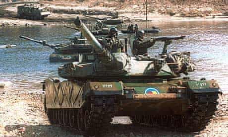 South Korean tanks taking part in a military exercise near the demilitarised zone