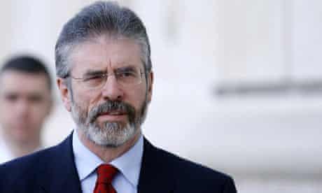 President of Sinn Fein Gerry Adams arriv