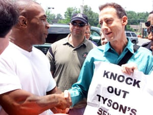 Peter Tatchell: Heavyweight boxer Mike Tyson is met by gay rights campaigner Peter Tatchell