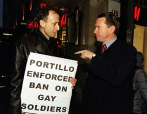 Peter Tatchell: Former minister Michael Portillo confronted by Peter Tatchell
