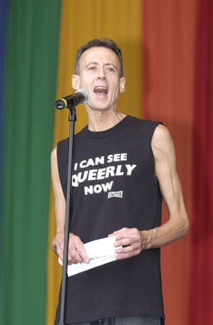 Peter Tatchell: Peter Tatchell addresses the crowd at the Mardi Gras in Hackney Marshes