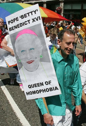 Peter Tatchell: Peter Tatchell holds a placard during the Euro Pride parade in 2006