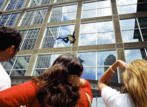 Kerry Skarbakka: People watch Kerry Skarbakka jumping off an office block
