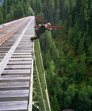 Kerry Skarbakka: Kerry Skarbakka jumps off a bridge