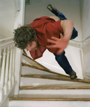 Kerry Skarbakka: Kerry Skarbakka falls down the stairs