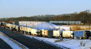 Eurostar delays: A Eurostar test train passes freight traffic held on the M20 motorway