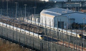 Eurostar delays: Two Eurostar trains sit in sidings at the Eurotunnel site in Folkestone