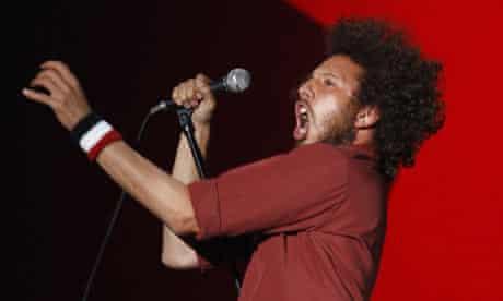 Zack de la Rocha of Rage Against The Machine performing at the Reading Festival.