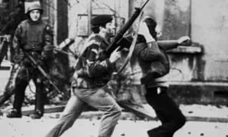 A British soldier drags a Catholic protester on Bloody Sunday, 30 January 1972, in Derry