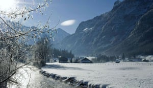 Snow: Switzerland: Steam rises from the Kander river in the Kandergrund valley