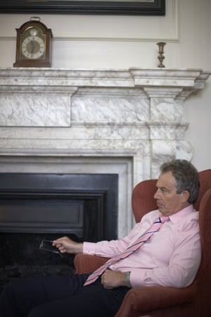 Icons of the decade: Tony Blair in his office 'The Den', during a foreign affairs briefing