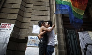 Gay rights activists celebrate the legalisation of same-sex marriage in Mexico City