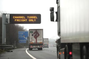 travel chaos: A sign reading CHANNEL TUNNEL FREIGHT ONLY