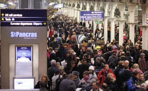 travel chaos: Crowds of passengers wait to try to board Eurostar services at St Pancras