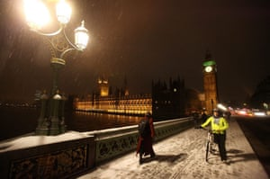 travel chaos: Snow Continues To Fall Across The Country