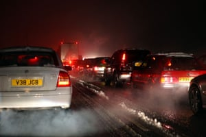 travel chaos: Traffic sits on a snow covered M3 motorway