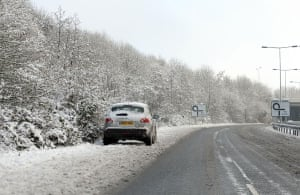 Travel chaos: A vehicles abandoned by the side of a road in Basingstoke