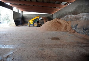 Travel chaos: Salt is delivered at the highway agencies depot in Hook near Basingstoke
