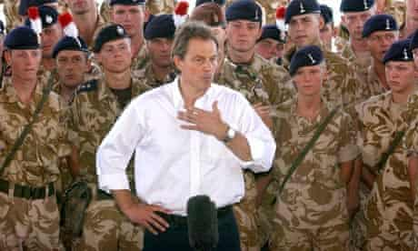 Tony Blair addresses British troops in Basra