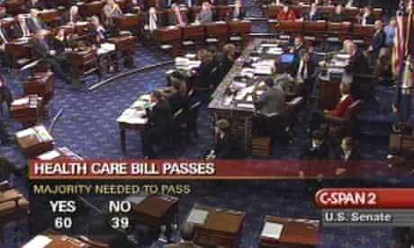 Screen grab of final Senate vote on healthcare bill